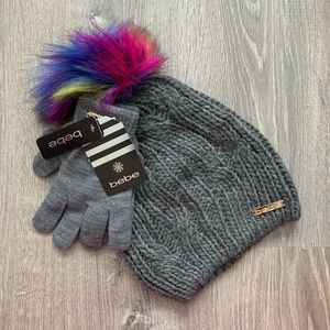 NWT BEBE Logo  Gray  Pom Pom Hat & Gloves Set